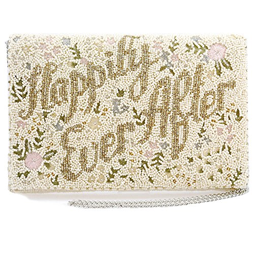 MARY FRANCES Happily Ever After Handbag Beaded Floral Embroidered Bridal Crossbody Clutch Handbag