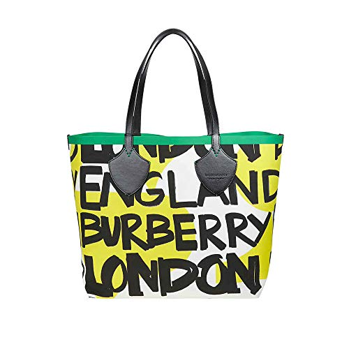 Burberry Large Graffiti Print Cotton Tote- Black/Green