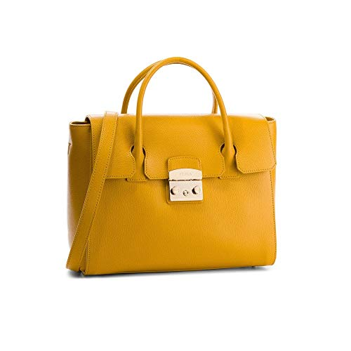 Furla Metropolis Ladies Medium Yellow Ginestra Leather Satchel 978152