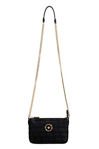 Versace 100% Leather Black Chain Strap Women's Crossbody Shoulder Bag