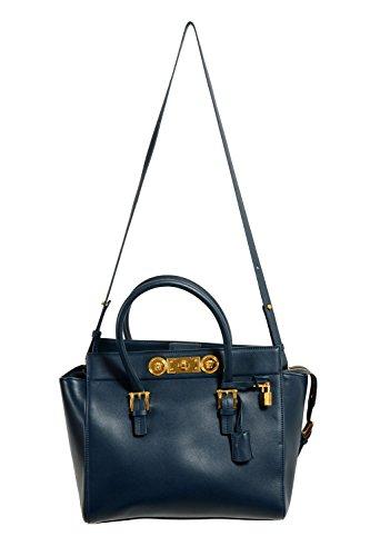 Versace Leather Navy Women's Handbag Shoulder Bag