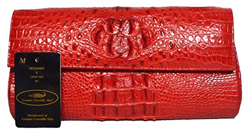 Authentic M Crocodile Skin Womens Clutch Bag Purse Chain Red Wallet Handbag