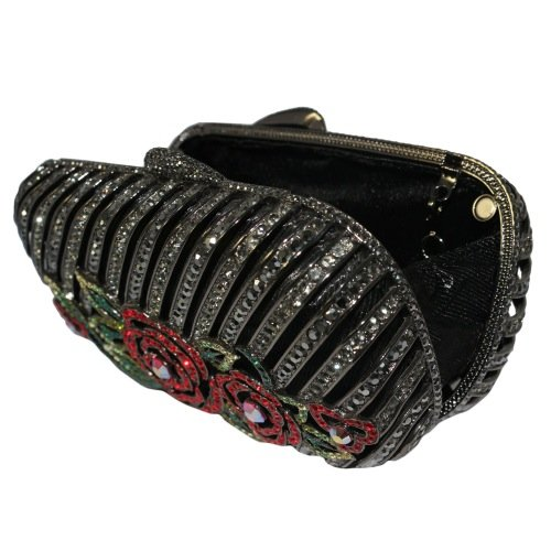Gunmetal Black Clutch Purse With Red Floral Design And Swarovski Elements Crystals