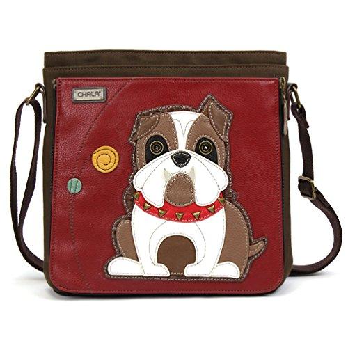 Chala Handbag Deluxe Messenger Bag with Detachable Tablet Sleeve (Bull Dog)
