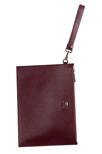 Versace 100% Leather Burgundy Women's Wristlet Clutch