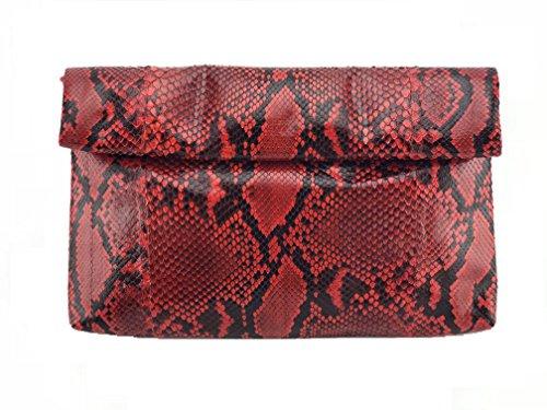 Genuine Exotic Snake Skin Rolling Clutch Handbag
