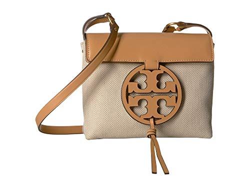 Tory Burch Miller Leather Canvas Crossbody Handbag in Natural