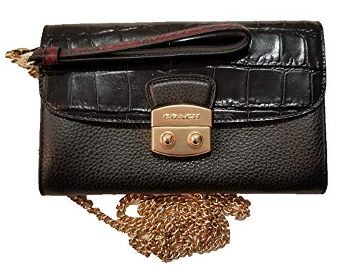 Coach Pebbled & Crocodile-Embossed Leather Dressy Chained Crossbody Clutch Purse Wallet Evening Bag with Refined Glovetanned Calf Leather Detailing and Push Lock Closure (Black)