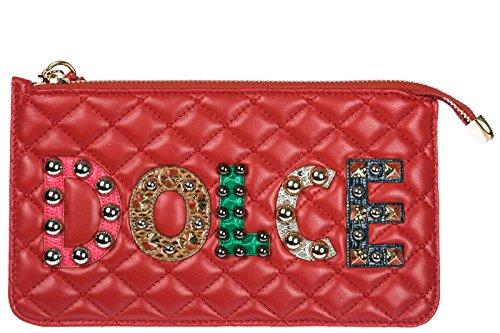 Dolce&Gabbana women's leather clutch handbag bag purse red