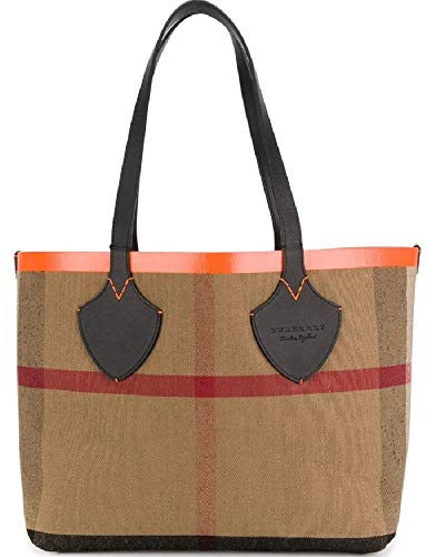 Burberry Women's Medium Giant Reversible Tote in Canvas and Leather Orange