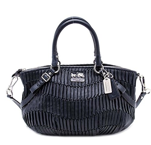 COACH LARGE GATHERED LEATHER SOPHIA CONVERTIABLE SATCHEL BAG PURSE TOTE 15947 MIDNIGHT