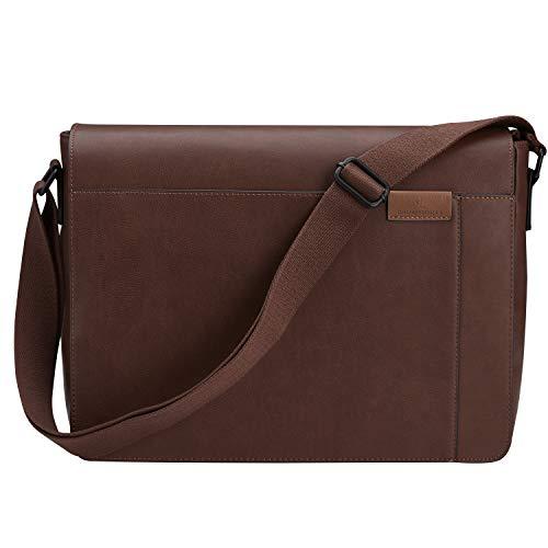 Gallaway Leather Messenger Bag – Shoulder Satchel Travel Bag Fits 13 Inch Laptop – Modern Urban Design – Brown