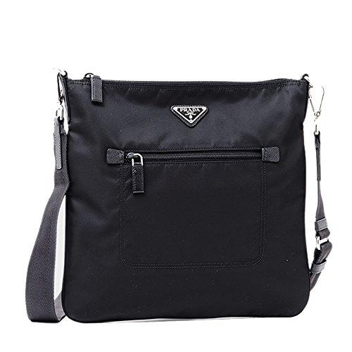 Prada Nylon Messenger Bag Crossbody Black 1BH715