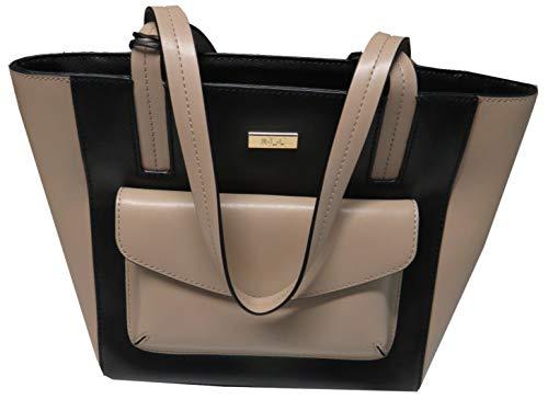 Ralph Lauren Purse Handbag Bramley Medium Shopper Black/Stone