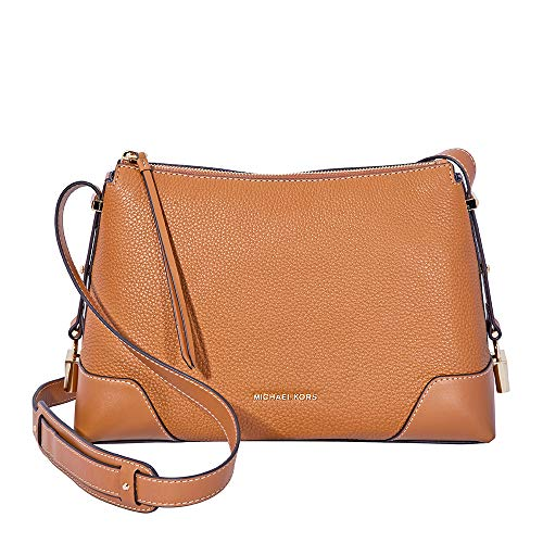 Michael Kors Crosby Medium Pebbled Leather Messenger Bag- Acorn, Brown, Large