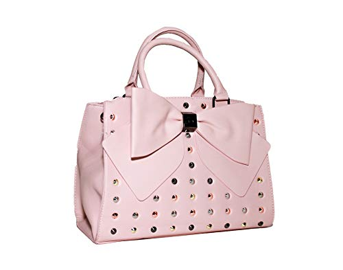 Betsey Johnson Studded Double Big Bow Blush Faux Leather Satchel Handbag Shoulder Bag