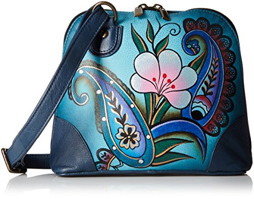 Anna by Anuschka Women's Genuine Leather Small Zip-Around Handbag | Multi Compartment Organizer |Denim Paisley Floral