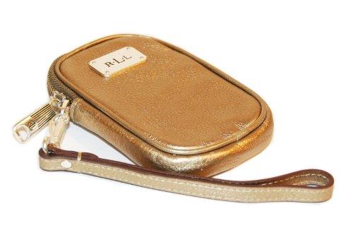 Ralph Lauren Womens Polo Leather Wristlet Phone Card Case Wallet Metallic Gold