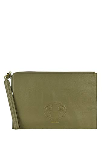 Roberto Cavalli Green Grained Leather Winged Horse Zip Clutch Doc Case ~RTL$1750