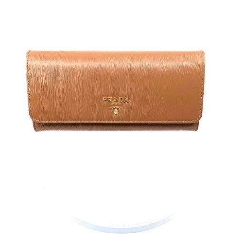 Prada Women's Caramel Beige Vitello Move Long Leather Flap Continental Wallet 1MH132