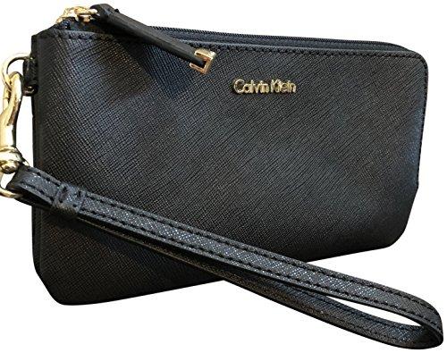 Calvin Klein Monogram Saffiano Leather Double Compartment Wristlet Black