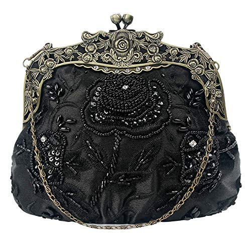 RMXMY Simple Fashion Lady Retro Beaded Opponent Bag Retro Rose Wallet Evening Bag