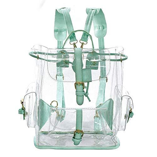 ilishop Womens Clear Backpack PVC See Through Transparent Backpack for Girls Travel Backpacks Waterproof Stachel Bag (Green)