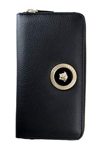 Versace 100% Leather Black Logo Embellished Women's Wallet