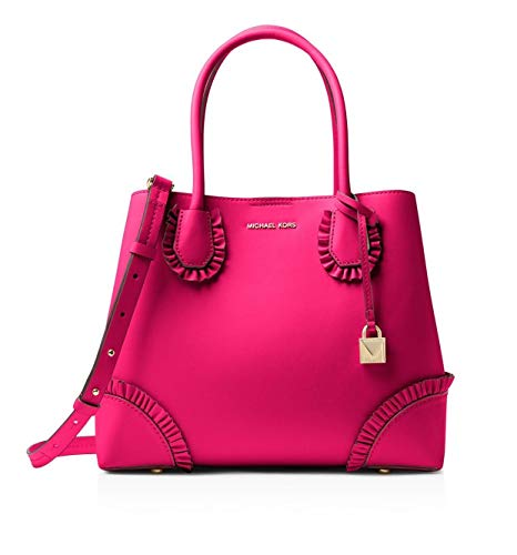 MICHAEL Michael Kors Mercer Gallery Center Zip Medium Leather Tote, Ultra Pink