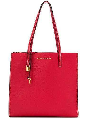 Marc Jacobs The Grind Shopper Leather Tote Bag, Red