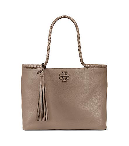 Tory Burch Taylor Tote Women's Leather Large Handbag (Silver Maple)