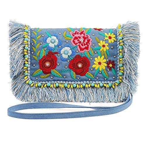 MARY FRANCES On The Fringe Floral Embroidered Denim Handbag with Fringe Edges
