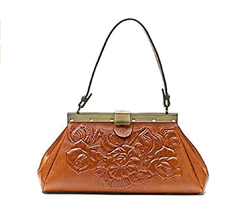 Patricia Nash Ferrara Tooled Roses Leather Frame Satchel Handbag