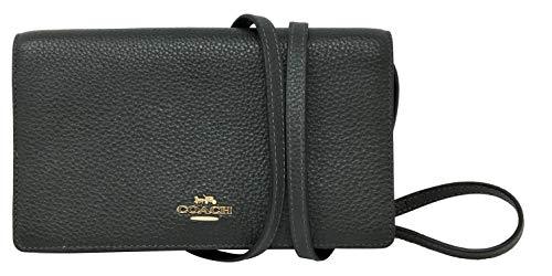 Coach Pebbled Leather Foldover Clutch Crossbody Bag Ivy F30246