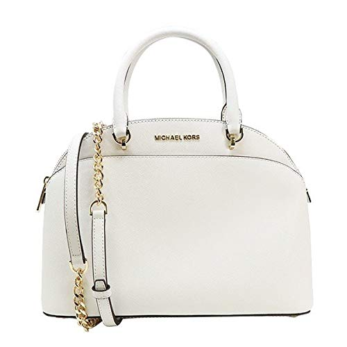 Michael Kors Emmy Large Dome Saffiano Leather Satchel Crossbody Bag Purse (Optic White)