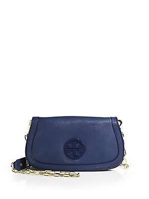 Tory Burch Amanda Logo Leather Flap Clutch Bag Heather Sky