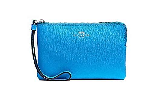 Coach Crossgrain Leather Corner Zip Wristlet, Bright Blue