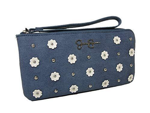 New Jessica Simpson Logo Wristlet Purse Hand Bag Flowers Denim Blue White Silver
