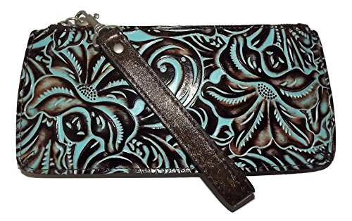 Patricia Nash Tooled Leather St Croce Clutch Wristlet Smartphone Wallet Turquoise