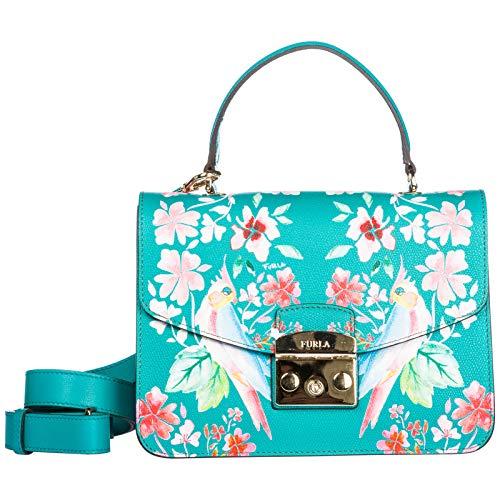 Furla Furla Metropolis S Aqua Green Leather Handbag With Flowers And Parrots. Green