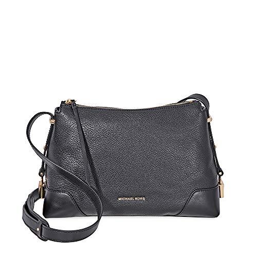Michael Kors Crosby Medium Pebbled Leather Messenger Bag- Black