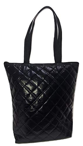 LeSportsac Black Quilted Crinkle Patent Daily Tote, Style 2432/Color H026