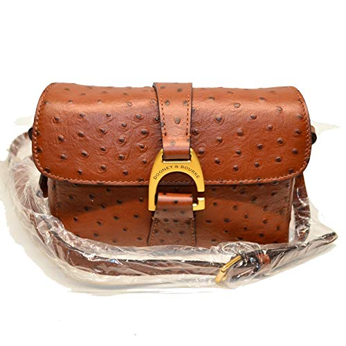 Dooney and Bourke Kyra Ostrich Emb Leather Crossbody Cognac