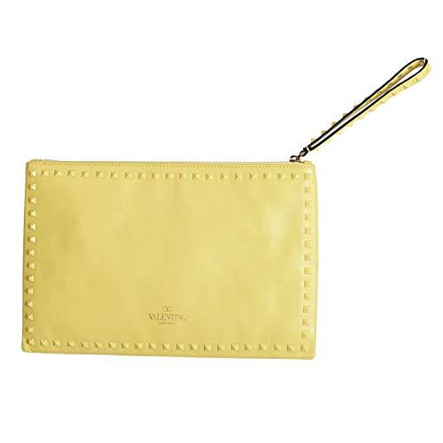 Valentino Women's Yellow 100% Leather Rockstud Wristlet Clutch Bag
