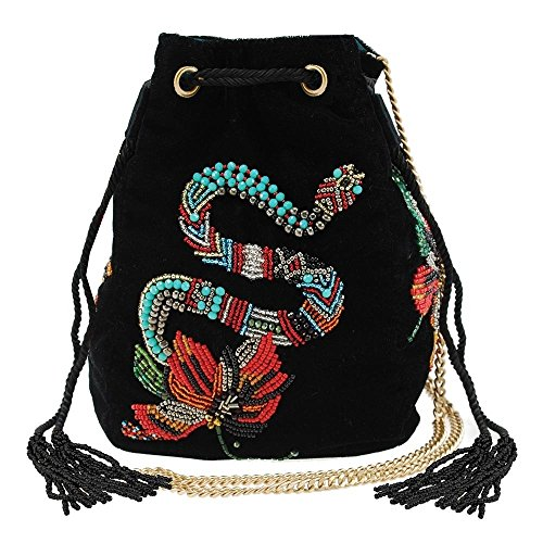 MARY FRANCES Snake Charmer Embellished Velvet Drawstring Pouch Handbag