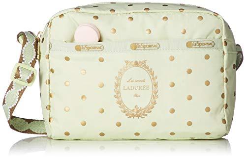 LeSportsac Les Secrets Laduree Pois Pistache Daniella Crossbody Handbag, Macaron Zipper Pull, Style 2434/Color G612 (Metallic Iridescent Gold Speckles)