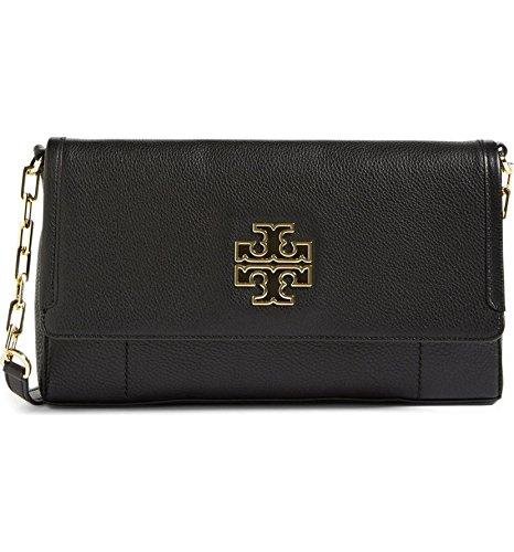 TORY BURCH Britten Fold over Crossbody Bag Leather Women's Handbag (Black)