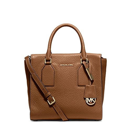 Michael Kors Selby Medium Leather Satchel Handbag in Walnut Brown