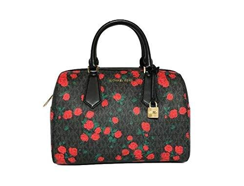 Michael Kors Hayes Large Duffle Black PVC Red Roses