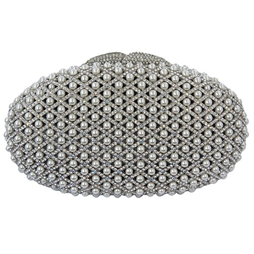 Rhodium Plated Clutch Purse Made With Swarovski Elements Crystals And Pearls